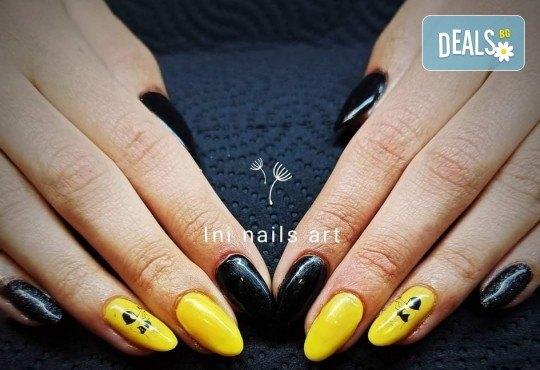 Изящен стил! Дълготраен маникюр с гел лак BlueSky с 2 декорации в Салон Фемили (Inni Nails Art) - Снимка 16