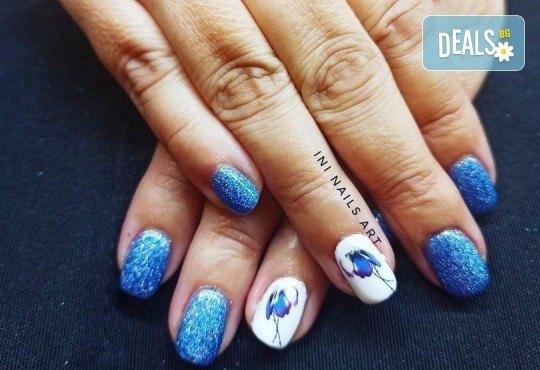 Изящен стил! Дълготраен маникюр с гел лак BlueSky с 2 декорации в Салон Фемили (Inni Nails Art) - Снимка 3