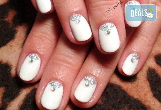 Изящен стил! Дълготраен маникюр с гел лак BlueSky с 2 декорации в Салон Фемили (Inni Nails Art) - Снимка 11