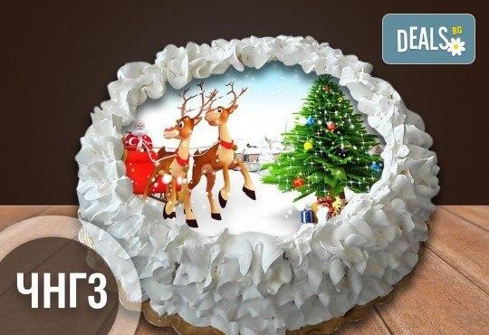 Коледно-новогодишна торта с 12 парчета с крем и какаови блатове + коледна снимка или снимка на клиента, от Сладкарница Джорджо Джани - Снимка 5