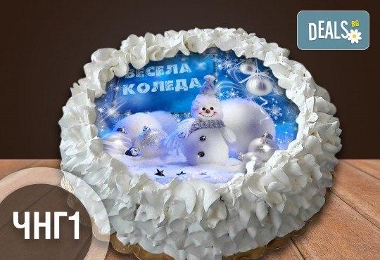 Коледно-новогодишна торта с 8 парчета с крем и какаови блатове + коледна снимка или снимка на клиента, от Сладкарница Джорджо Джани - Снимка 9