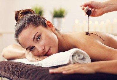 Дамски СПА релакс! Шоколадов релаксиращ масаж на цяло тяло, чаша бейлис и шоколадов комплимент в Senses Massage & Recreation - Снимка