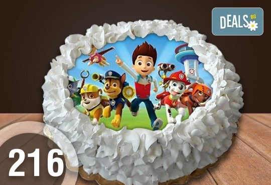 Детска торта с 16 парчета с крем и какаови блатове + детска снимка или снимка на клиента, от Сладкарница Джорджо Джани - Снимка 1
