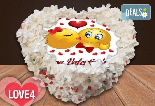 Торта сърце за влюбени! Сърце с любима снимка: 8, 12 или 16 парчета от Сладкарница Джорджо Джани - Снимка 4