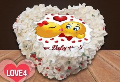 Торта сърце за влюбени! Сърце с любима снимка: 8, 12 или 16 парчета от Сладкарница Джорджо Джани - Снимка