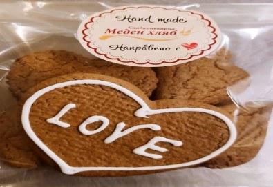 300 гр. медени сърца за месеца на любовта от Сладкопекарна МЕДЕН ХЛЯБ - Снимка