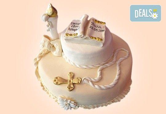 За кръщене! Красива тортa за Кръщенe с надпис Честито свето кръщене, кръстче, Библия и свещ от Сладкарница Джорджо Джани - Снимка 9