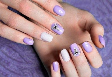 За здрави нокти! Поставяне на заздравяваща основа - фибростъкло или каучукова база, маникюр с гел лак и 2 декорации в студио Aleks Nails - Снимка