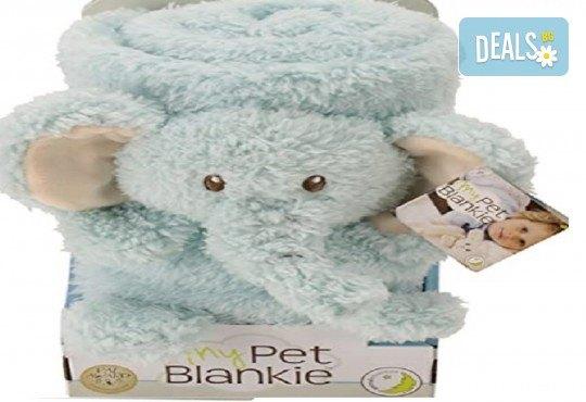 За децата! My Pet Blankie 3в1- одеяло, възглавница, плюшена играчка - синьо слонче от Toys.bg - Снимка 1