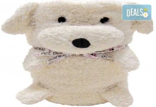 Забавно и топло! My Pet Blankie 3в1- одеяло, възглавница, плюшена играчка - бяло куче от Toys.bg - Снимка 1