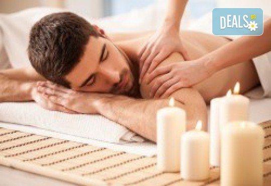 Подарете с любов! Подаръчен ваучер Спа ден за Него: 100 минути дълбокотъканен масаж, тай масаж, зонотерапия и релаксиращ масаж на скалп в Спа център Senses Massage & Recreation - Снимка 1