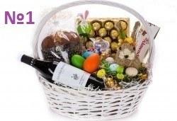 Подаръчни кошници за Великден! 5 различни варианта, пълни с изкушения и тематично украсени, подходящи за подарък на важни клиенти или партньори - Снимка