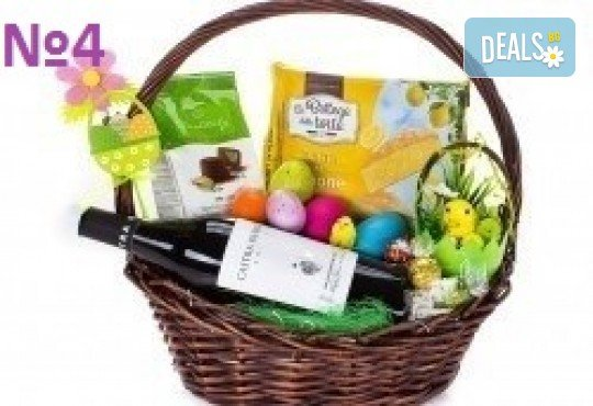 Подаръчни кошници за Великден! 5 различни варианта, пълни с изкушения и тематично украсени, подходящи за подарък на важни клиенти или партньори - Снимка 4