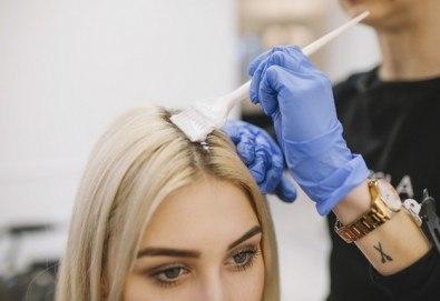 Боядисване с професионална боя на салона, масажно измиване, подстригване, подсушаване или прическа със сешоар в Салон Никол - Снимка