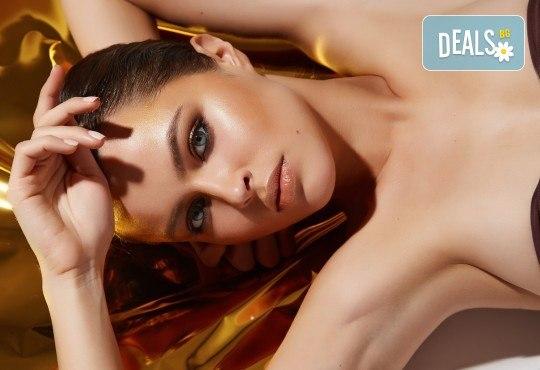 За красивата жена! СПА масаж Златен дъжд със златни частици, парафинова терапия за ръце, масаж на лице, хиалурон или колаген и чаша бяло вино в Senses Massage & Recreation - Снимка 2