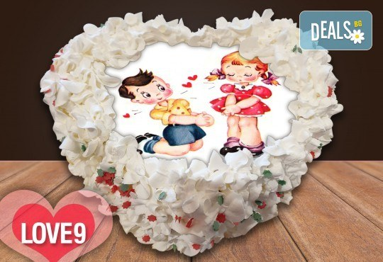 Торта сърце за влюбени! Сърце с любима снимка: 8, 12 или 16 парчета от Сладкарница Джорджо Джани - Снимка 7