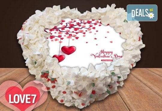 Торта сърце за влюбени! Сърце с любима снимка: 8, 12 или 16 парчета от Сладкарница Джорджо Джани - Снимка 9