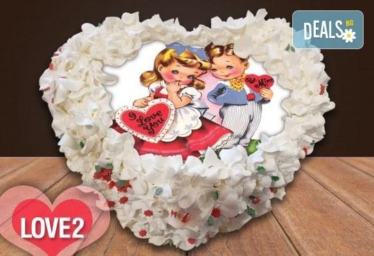 Торта сърце с любима снимка 8, 12 или 16 парчета от Сладкарница