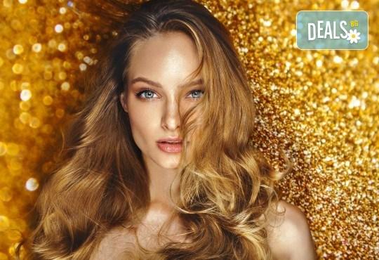 Най-новата и актуална тенденция в грижата за косата! Калифорнийски кичури, подстригване на връхчета, ефирни букли със сешоар и оформяне на вежди по желание в салон Madonna - Снимка 1