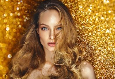 Най-новата и актуална тенденция в грижата за косата! Калифорнийски кичури, подстригване на връхчета, ефирни букли със сешоар и оформяне на вежди по желание в салон Madonna - Снимка