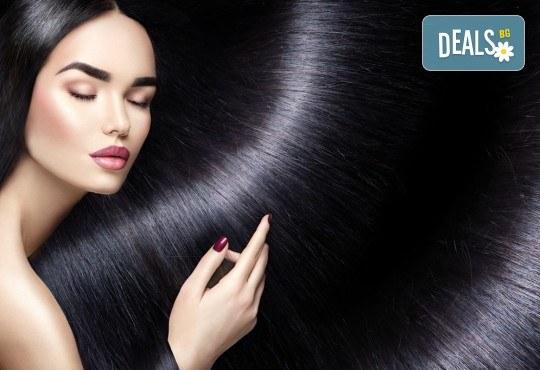 Полиране на коса - премахване на цъфтежите без отнемане на дължината, масажно измиване, ламиниране за дълготраен блясък и здравина, прическа със сешоар + йонизираща или кератинова преса в салон Madonna - Снимка 2