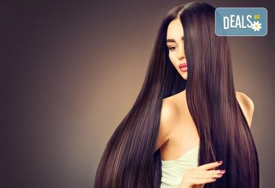 Полиране на коса, измиване, ламиниране и оформяне на прическа в салон