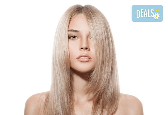Полиране на коса - премахване на цъфтежите без отнемане на дължината, масажно измиване, ламиниране за дълготраен блясък и здравина, прическа със сешоар + йонизираща или кератинова преса в салон Madonna - Снимка 3