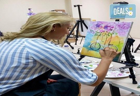 Незабравимо 3-часово творческо преживяване! Студио за рисуване и вино Art and Wine. На 24 септември от 18:30ч - на тема Тропикана - Снимка 12