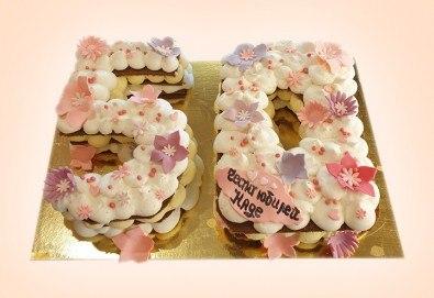 Винтидж торта с 3D цифри и размер по избор от Сладкарница Джорджо Джани - Снимка