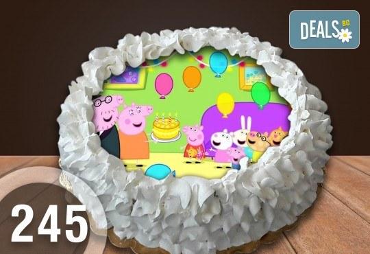 Детска торта с 12 парчета с крем и какаови блатове + детска снимка или снимка на клиента, от Сладкарница Джорджо Джани - Снимка 8