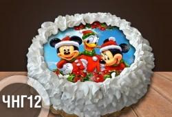 Коледно-новогодишна торта с 12 парчета с крем и какаови блатове + коледна снимка или снимка на клиента, от Сладкарница Джорджо Джани - Снимка