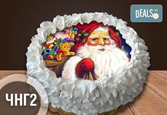 Коледно-новогодишна торта с 12 парчета с крем и какаови блатове + коледна снимка или снимка на клиента, от Сладкарница Джорджо Джани - Снимка 2