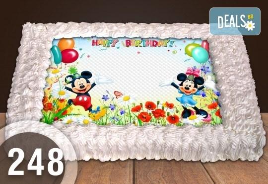 Експресна торта от днес за днес! Голяма детска торта 20, 25 или 30 парчета със снимка на любим герой от Сладкарница Джорджо Джани - Снимка 129