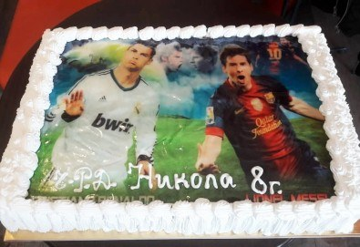 Голяма снимка! Торта 25 или 30 парчета, със снимка А3 и пълно покритие на тортата от Сладкарница Джорджо Джани - Снимка