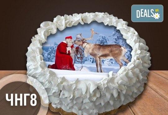 Коледно-новогодишна за Коледа и Нова година! Торта с 8 парчета с крем и какаови блатове + коледна снимка или снимка на клиента, от Сладкарница Джорджо Джани - Снимка 2