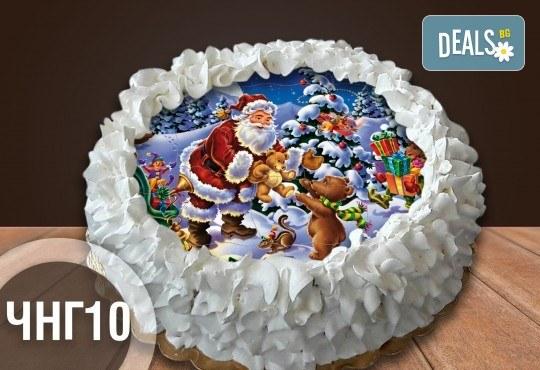 Коледно-новогодишна за Коледа и Нова година! Торта с 8 парчета с крем и какаови блатове + коледна снимка или снимка на клиента, от Сладкарница Джорджо Джани - Снимка 3