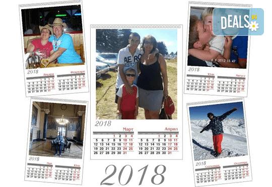 """Супер подарък за Вашите близки! Голям стенен """"7-листов календар"""" с 6 снимки на клиента и луксозен печат от Офис 2 - Снимка 2"""