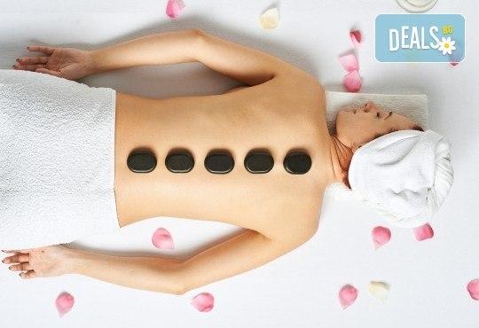 50-минутен Hot Stone масаж на гръб, ръце и стъпала в Масажно студио