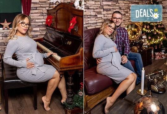 60-минутна фотосесия за бременни в студио с аксесоари и ефекти в