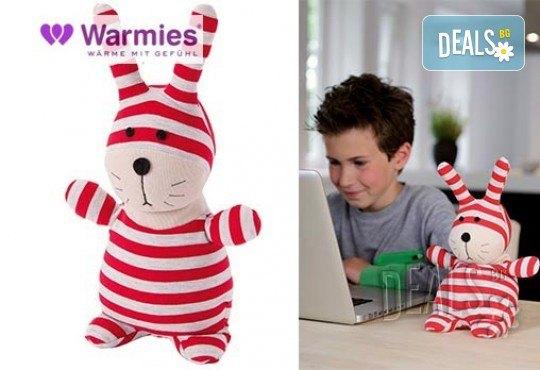 Плюшенo нагряващo се и охлаждащo се Зайче червено-сиво от Warmies - Снимка 1