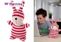 Плюшенo нагряващo се и охлаждащo се Зайче червено-сиво от Warmies - Снимка