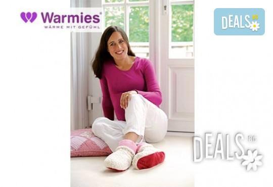 Плюшени нагряващи се и охлаждащи се ботуши шерпа бежово-червено (37-42)от Warmies - Снимка 1