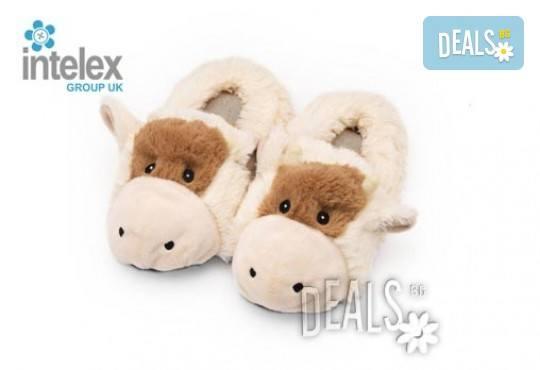 Плюшени нагряващи се Чехли Крава за деца Cozy Head Kids Cow от Intelex - Снимка 1