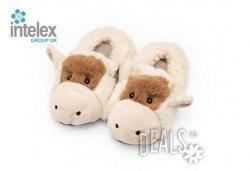 Плюшени нагряващи се Чехли Крава за деца Cozy Head Kids Cow от Intelex - Снимка