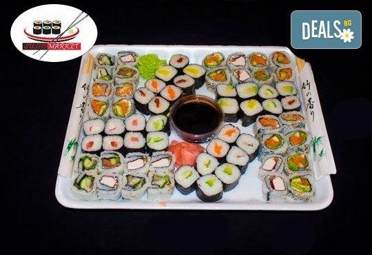 Екзотика! 64 вкусни суши хапкисъс сьомга, филаделфия, бяла и розова херинга + възможност за доставка от Sushi Market! - Снимка 1