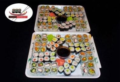 Вземете 128 суши хапки с пушена сьомга, филаделфия и херинга. С възможност за доставка за София от Sushi Market! - Снимка