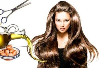 Свежа прическа! Подстригване, измиване, арганова терапия и оформяне на прическа със сешоар в салон за красота Diva!