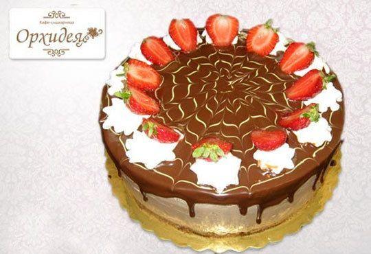 Шоколадова торта Шоко Парадайз с розов или с белгийски тъмен шоколад и ягоди от Сладкарница Орхидея - Снимка 2