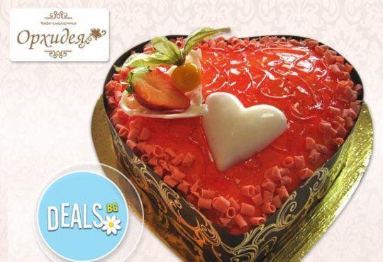 Романтична торта Червено сърце, с която да кажете Обичам те! от Сладкарница Орхидея - Снимка 1