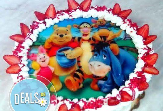 Кръгла детска торта 10 парчета с фотоснимка с любими герои или снимка по избор от Сладкарница Орхидея! - Снимка 1